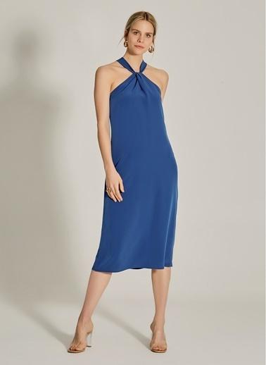 NGSTYLE Yaka Detaylı Elbise Lacivert